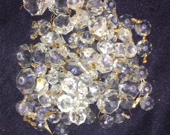 Lot of 110 Vintage Crystal Prism mostly Hexagon Top Crystals @ 1940's BE3 Great for refurbushing a chandelier