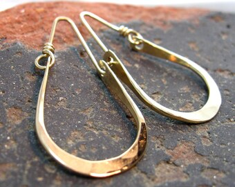 Artisan Hammered Gold Filled Hoops, Handmade Hoop Earrings by Liz Blanchflower
