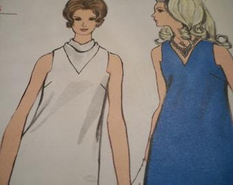 Vintage 1960's Vogue 7332 Mod Evening Dress Sewing Pattern Size 12 Bust 34