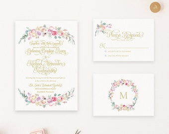 Blush Purple and Pink Floral Watercolor Wedding Invitation Suite - Flowers - Pink Purple and Gold
