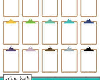 SALE! Clipboard Clipart Set, Commercial Use, Instant Download, Digital Clipart, Clip Art, Planner Clip Art, School Clip Art- MP213