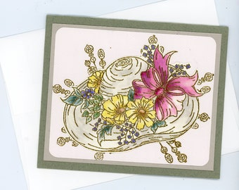 greeting card, art card, handmade card, victorian hat, frameable gift card, hand crafted card, card art, small painting