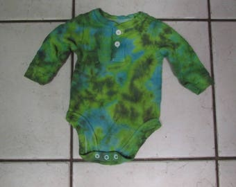 AWESOME Infant 3 to 6 month Garanimals bodysuit - long sleeved thermal-  tie dye  greens / blue grateful dead phish #18-50