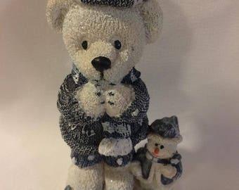 Christmas Bear With Snowman Figurine