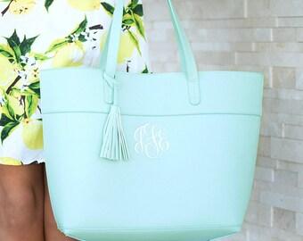 Monogrammed Spring Mint Vegan Leather Tote Bag, Faux Leather Sea Mist Tassel Purse, Soft Aqua Handbag, Personalized Bridesmaids Tote Bags