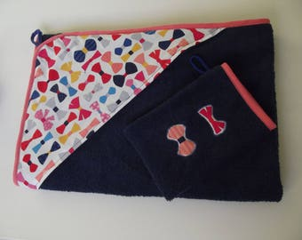 Hooded towel Blue Navy bows 85 x 85 cm with glove