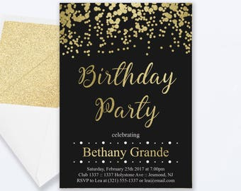 Adult birthday invitation birthday party 60th birthday invite adult birthday party invitations gold confetti birthday invitation adult birthday party invite birthday invite filmwisefo