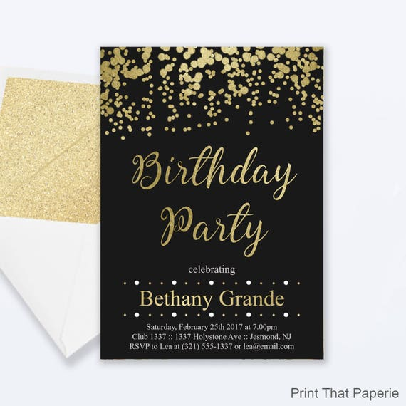 Adult birthday party invitations gold confetti birthday like this item filmwisefo Image collections