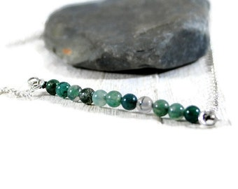 Sterling Silver Bracelet. Stone Bar Bracelet. Beaded Bracelet. Minimalist Jewelry. Skinny Bracelet. Delicate Bracelet. Birthday Gift For Her