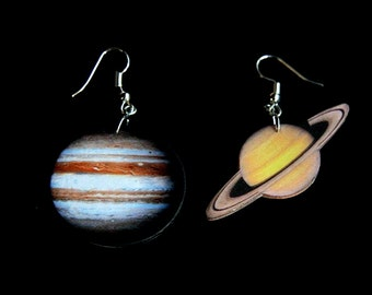 Jupiter and Saturn earrings, solar system earrings, planet earring, space earrings, space jewelry, cosmos jewelry, planetary earrings