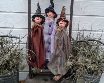 Primitive Halloween Decor - Primitive Witch - Ceramic Figure - Primitive Fall Decor - Primitive Decor - Halloween - Primitive Doll - Faap -