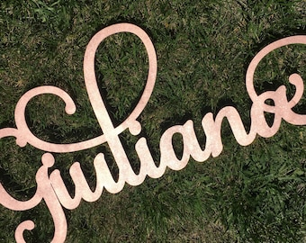 Personalized Calligraphy Name Sign - Rose Gold Name Sign - Birthday Photo Prop - First Birthday Photo Prop - Laser Cut