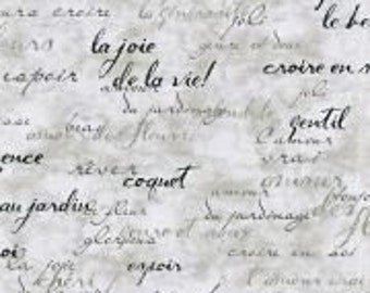 Upholstery Fabric, Drapery Fabric, French Script Fabric, Paris France, Slip Cover Fabric, Duvet Cover Fabric, Fabric By The Yard