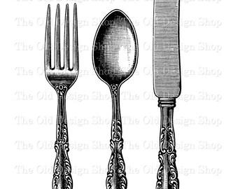 Fork Spoon Knife Vintage Clip Art Printable Silverware Kitchen Cutlery Illustration Digital Download Transfer Image Printable Art PNG JPG