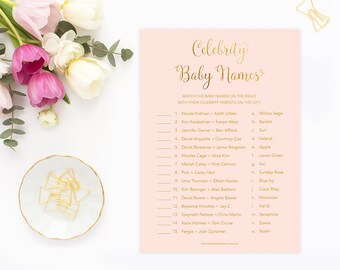 Celebrity Baby Names, Celebrity Baby Game, Pink Gold Baby Shower, Girl Baby Shower, Printable Digital, PGFBS, INSTANT DOWNLOAD