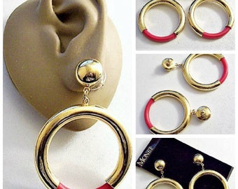 Monet Pink Jumbo Hoops Pierced Post Stud Earrings Gold Tone Vintage Extra Large Round Button Tube Open Dangle Ring Lucite Bottom Accent