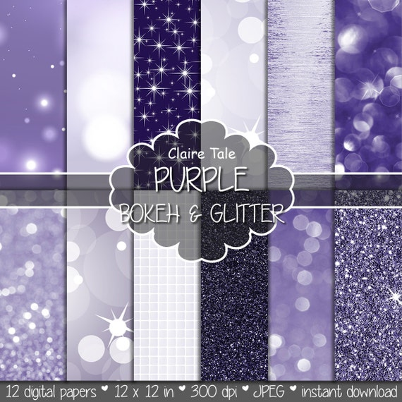 """Purple digital paper: """"PURPLE BOKEH & GLITTER"""" with purple glitter background and purple bokeh background for photographers and scrapbooking"""