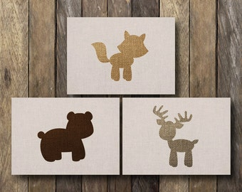 Printable Woodland Nursery Art - Instant Download 5x7 - 5x7 Nursery Art - Baby Forest Animals Nursery