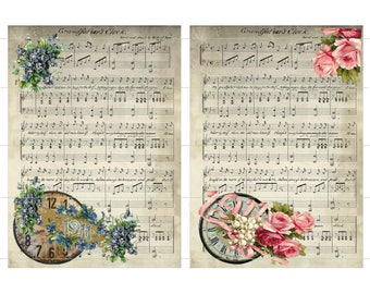 INSTANT DOWNLOAD Grandfathers Clock Music Vintage Watch Picture Flowers Digital Peach And Red Roses Peach Ribbon Blue Flowers 1911 on Gold