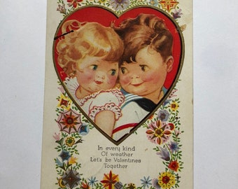 Vintage Valentine Postcard 1932 made in USA Sailor and girl in heart In every kind of weather lets be together Navy Valentine Ephemera