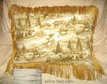 Final Markdown Sale...WESTERN SCENE Pioneer Cowboys Horses Tan Toile Pillow w/Trim...Price Greatly Reduced