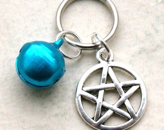 Pet Collar Charms with Pentagram & Blue Bell for Cat or Dog Witches Pentacle New LB19