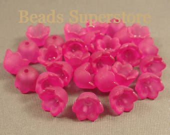 FINAL SALE 10 mm x 6 mm Magenta Lucite Flower Bead - 24 pcs