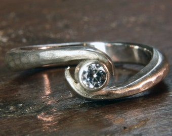Twist recycled silver & ethical lab grown moissanite or diamond engagement ring. Hand made to order in the UK
