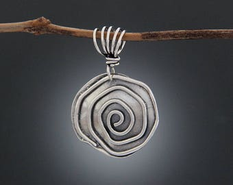 Sterling Silver Spiral Pendant - Simple Jewelry - Simple Pendant - Spiral Necklace - Swirl Pendant - Silver Pendant - Sherry Tinsman