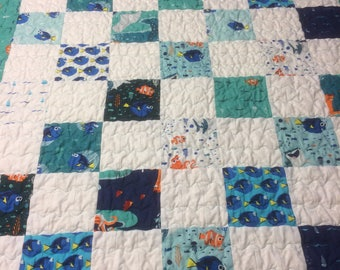 Finding Nemo teal aqua blue and white throw or baby quilt