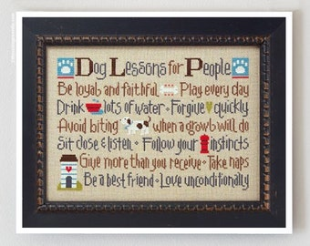 Dog Lessons for People cross stitch patterns by Lizzie Kate doggy puppy pet canine fire hydrant paw embroidery