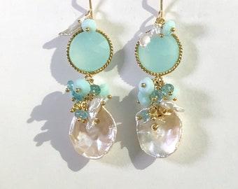 Aqua Earrings Mint Earrings Keishi Pearl Cluster Earrings Gemstone Peruvian Opals Wedding Earrings Mothers Day Gift Bridesmaid Jewelry Gift