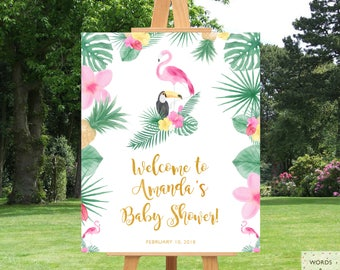 Flamingo Baby Shower, Greetings Sign, Flamingo Party Decorations, Lets  Flamingle, Tropical Baby