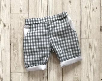 Gingham Boys Pants - Grey Boys Trousers - Newborn Baby Outfit - Baby Boy Trousers - Grey Baby Outfit - Boys Suit Trousers