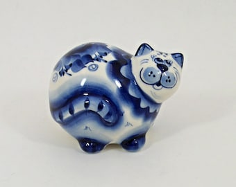GZHEL RUSSIAN Porcelain Figurine Fat CAT #0139/ #0140