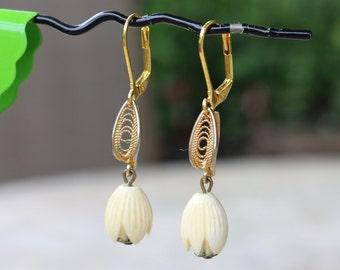 Vintage Celluloid Earrings, Ivory Tulip, Cream, Gold, Filigree, Pierced, Reclaimed, Upcycled, Leverback, Jennifer Jones, OOAK, Coupon Code