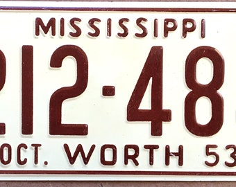 1953 Wheaties Collectible Children's Bicycle License Plate State of Mississippi General Mills