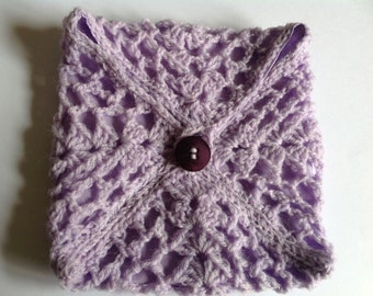 Lilac square crocheted purse or enveloppe