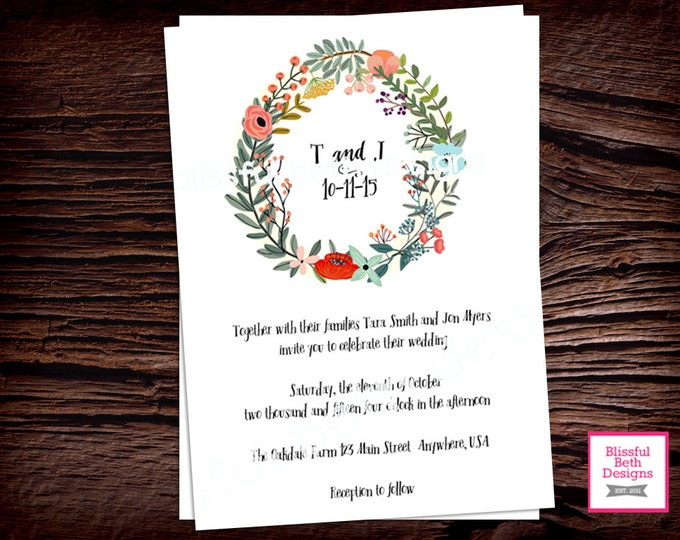FLORAL WEDDING INVITATION, Simple Wedding Invitaiton, Floral Wedding Invitation, Country Wedding Invite, Floral Wreath Wedding Invitations