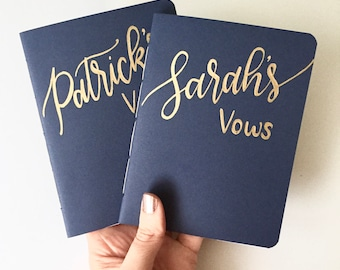Custom Wedding Vow Books (Handmade, Hand Lettered, Personalized, Choose Colors, Shown in Navy and Gold, Set of 2, 5.5x4.25in)