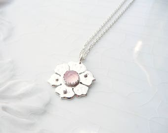 Little Pink Poppy Necklace - Argentium Sterling Silver Pendant with chain, Women, Girls and Teens, one of a kind gift