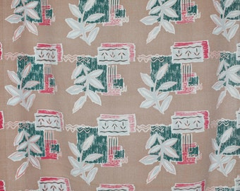 50's funky abstract floral Barkcloth curtain panel / choclate brown with red, gray, and green and geometric design