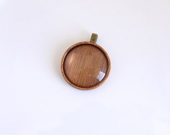 Fine finished artisanal hardwood pendant blank - Mahogany - 30 mm cavity  - Brass Bail - (Z30-M)