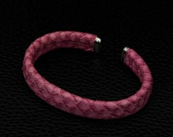 Genuine Python Leather, Womens Leather Bracelet, Adjustable, Snakeskin Bracelet, Womens Gift, Exotic Bracelet, Pink Bracelet for Women