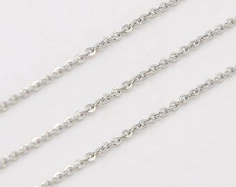 1 Meter - Silver 304 Stainless Steel Cable Chain (Unfinished)