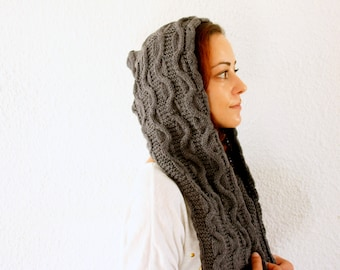 Grey Hooded Scarf Cozy Warm Handknit Handmade Gifts cable pattern