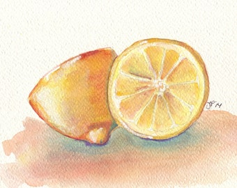 Lemons Art - Lemon Still Life Watercolor Painting - Two Yellow Lemons Fruit Watercolor Art Print, 8x10