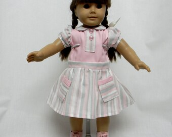 Vintage Pink, White, & Gray Stripped Dress For 18 Inch Dolls Like The American Girl
