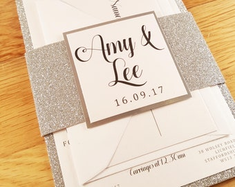 Glitter banded wedding invitation bundle *sample* personalise
