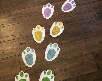 Bunny Footprints with Glitter ~ perfect for Easter and Spring Parties